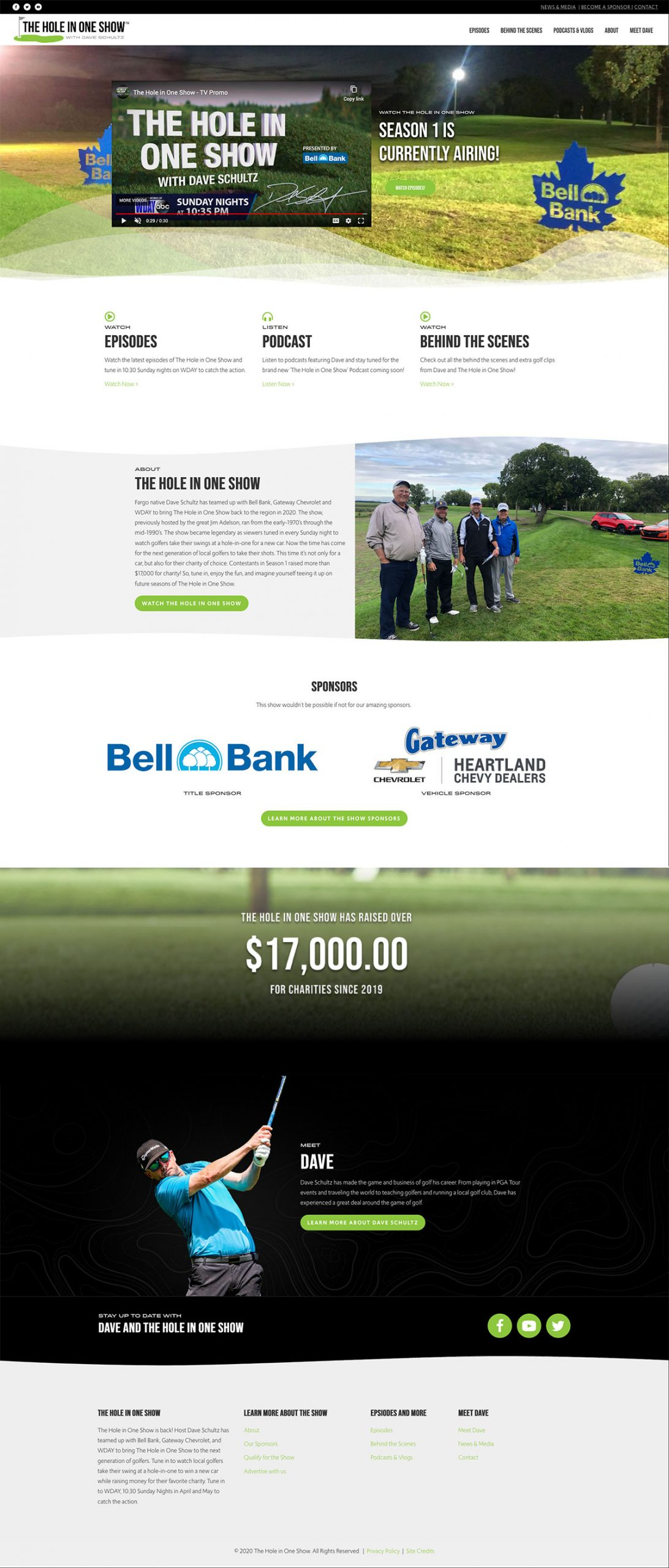 The Hole in One Show Home Page Screenshot
